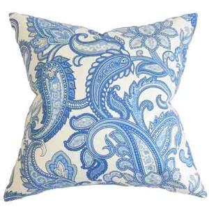 Galila Natural Blue 18 x 18 Floral Throw Pillow