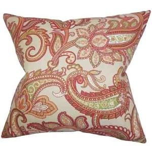 Galila Orange 18 x 18 Floral Throw Pillow