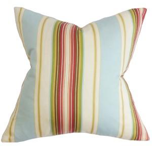 Douce Natural Blue 18 x 18 Stripes Throw Pillow