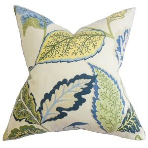 Xelomina Blue 18 x 18 Floral Throw Pillow