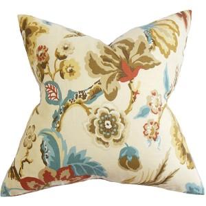 Chaya Neutral 18 x 18 Floral Throw Pillow