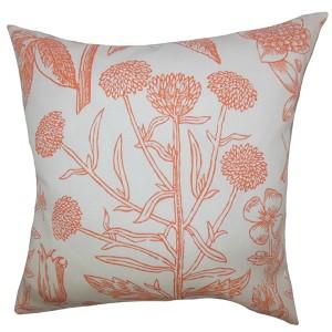 Neola Orange 18 x 18 Floral Throw Pillow