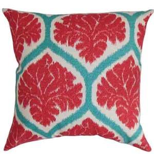 Priya Red 18 x 18 Floral Throw Pillow