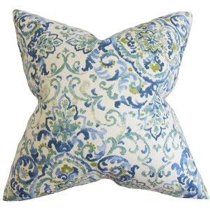 Halcyon Blue and Green 18 x 18 Floral Throw Pillow
