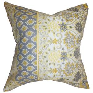 Kairi Yellow 18 x 18 Floral Throw Pillow