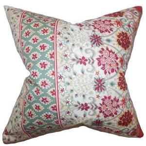 Kairi Red 18 x 18 Floral Throw Pillow