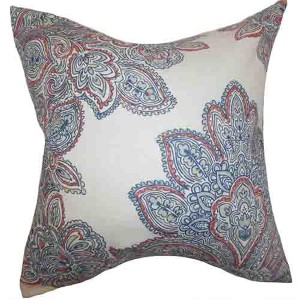Haldis Blue 18 x 18 Floral Throw Pillow
