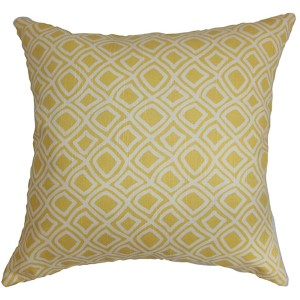 Cacia Yellow 18 x 18 Geometric Throw Pillow