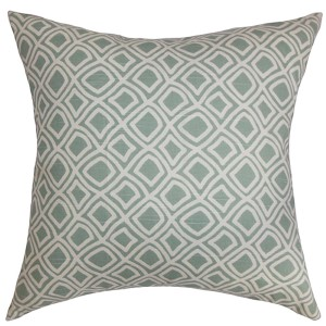 Cacia Blue 18 x 18 Geometric Throw Pillow