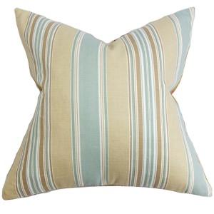 Hollis Blue 18 x 18 Stripes Throw Pillow
