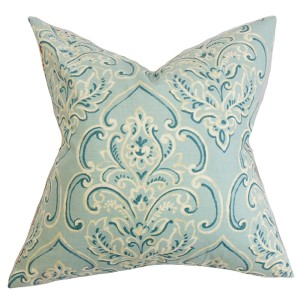 Yonah Baby Blue 18 x 18 Floral Throw Pillow