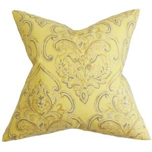 Yonah Yellow 18 x 18 Floral Throw Pillow