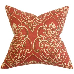 Yonah Red 18 x 18 Floral Throw Pillow
