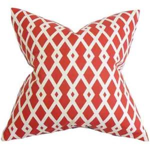 Tova Red 18 x 18 Geometric Throw Pillow