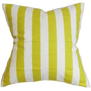 Ilaam Green 18 x 18 Stripes Throw Pillow