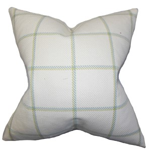 Wilmie Green 18 x 18 Plaid Throw Pillow