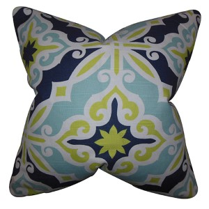 Adriel Green and Blue 18 x 18 Geometric Throw Pillow