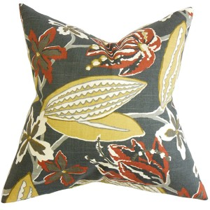 Averill Red 18 x 18 Floral Throw Pillow