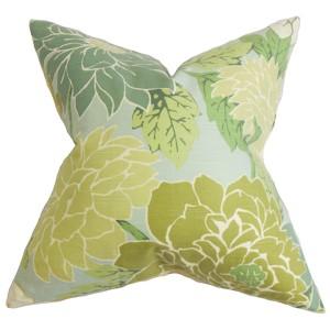 Kerensa Green 18 x 18 Floral Throw Pillow