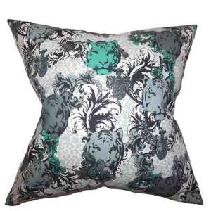 Eavan Gray 18 x 18 Floral Throw Pillow