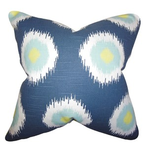 Paegna Blue 18 x 18 Patterned Throw Pillow
