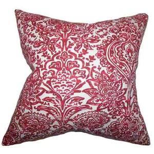 Daija Red 18 x 18 Floral Throw Pillow