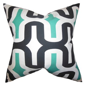 Jaslene Jade 18 x 18 Geometric Throw Pillow