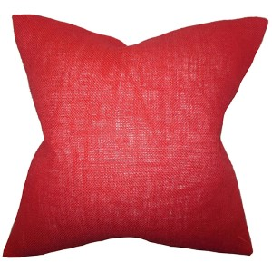 Ellery Red 18 x 18 Solid Throw Pillow