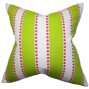 Odienne Green 18 x 18 Stripes Throw Pillow