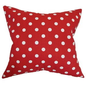 Nancy Lipstick Red 18 x 18 Patterned Throw Pillow