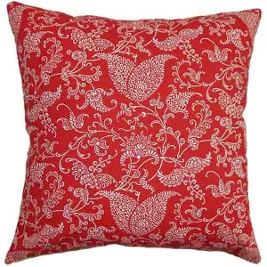 Aderyn Red and Pink 18 x 18 Paisley Throw Pillow