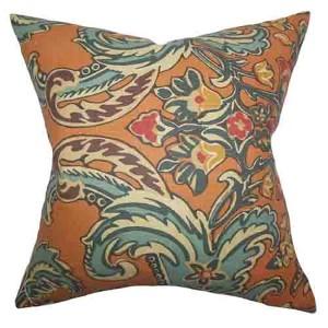 Kiriah Orange 18 x 18 Floral Throw Pillow