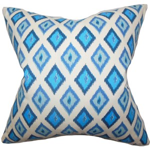 Ipomen Blue 18 x 18 Geometric Throw Pillow