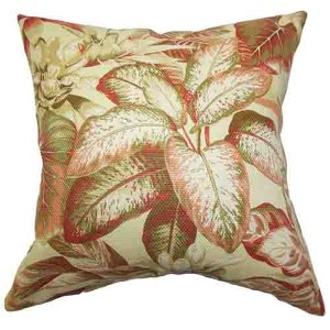 Adlai Red Green 18 x 18 Floral Throw Pillow