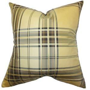 Fiorella Gold 18 x 18 PLaid Throw Pillow