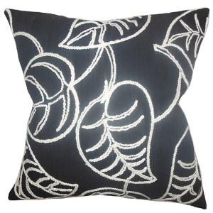 Fabrizia Black 18 x 18 Floral Throw Pillow