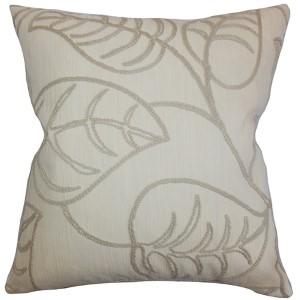 Fabrizia Linen Neutral 18 x 18 Floral Throw Pillow