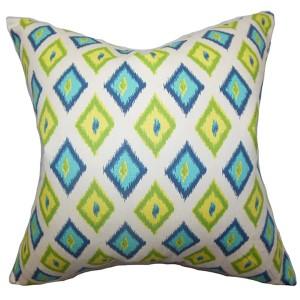 Ipomen Green and Blue 18 x 18 Geometric Throw Pillow