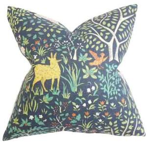 Elihu Blue 18 x 18 Floral Throw Pillow