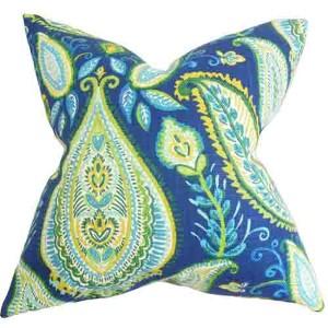 Corisande Blue 18 x 18 Floral Throw Pillow