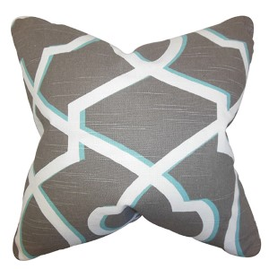 Curan Gray and White 18 x 18 Geometric Throw Pillow