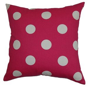 Rane Candy Pink and White 18 x 18 Patterned Throw Pillow
