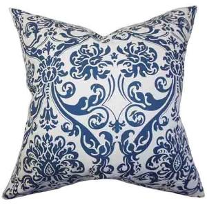Saskia Navy 18 x 18 Patterned Throw Pillow