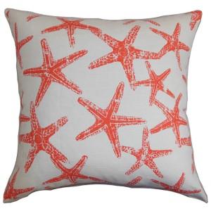 Ilene Red 18 x 18 Coastal Throw Pillow