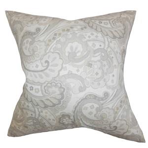 Iphigenia Linen Gray 18 x 18 Floral Throw Pillow