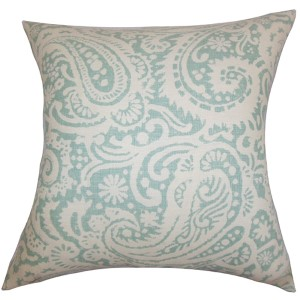 Nellary Aqua 18 x 18 Paisley Throw Pillow
