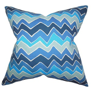 Achsah Arctic Blue 18 x 18 Zigzag Throw Pillow
