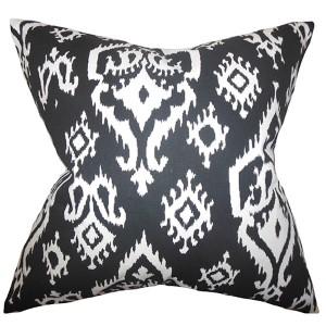 Baraka Black 18 x 18 Ikat Throw Pillow