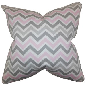 Howel Twill Pink 18 x 18 Zigzag Throw Pillow
