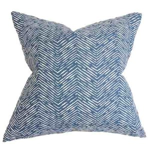 Edythe Blue and Yellow 18 x 18 Zigzag Throw Pillow